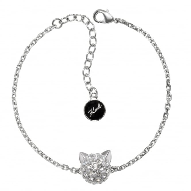 Silver choupette bracelet created with Swarovski crystals