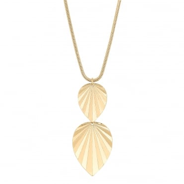 Gold Leaf Drop Long Pendant Necklace