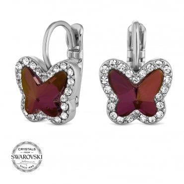 Lilac butterfly earring MADE WITH SWAROVSKI CRYSTALS