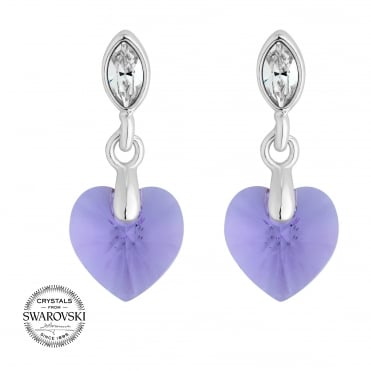Lilac heart earring MADE WITH SWAROVSKI CRYSTALS