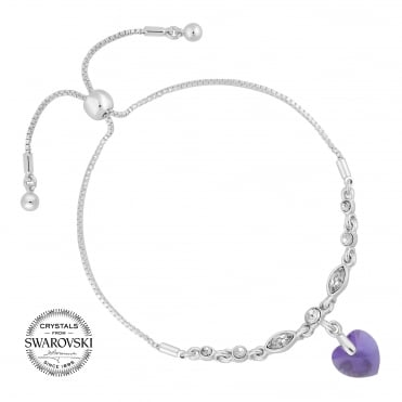 Lilac heart toggle bracelet MADE WITH SWAROVSKI CRYSTALS