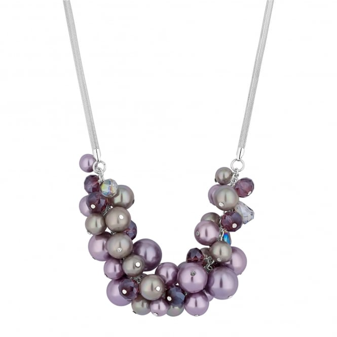 MOOD By Jon Richard Purple Pearl Cluster Necklace