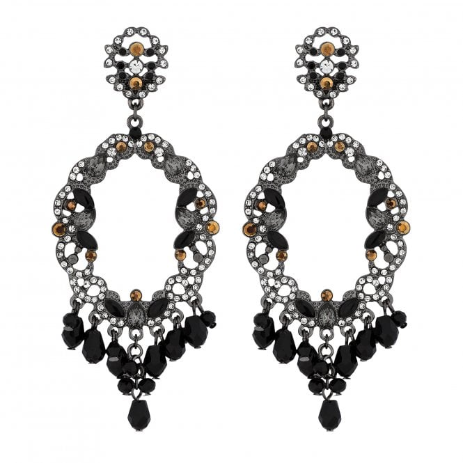 Black Baroque Crystal Statement Earrings