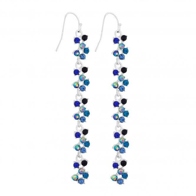 Blue Crystal Linear Drop Earring