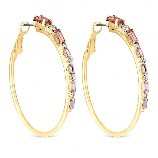 Gold Pink Crystal Hoop Earring