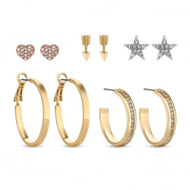 Gold Heart Star And Hoop Crystal Earring Set - Pack of 5
