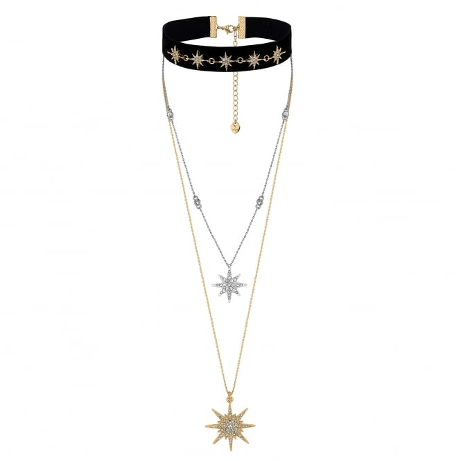 Black Gold Star Crystal Multi -row choker