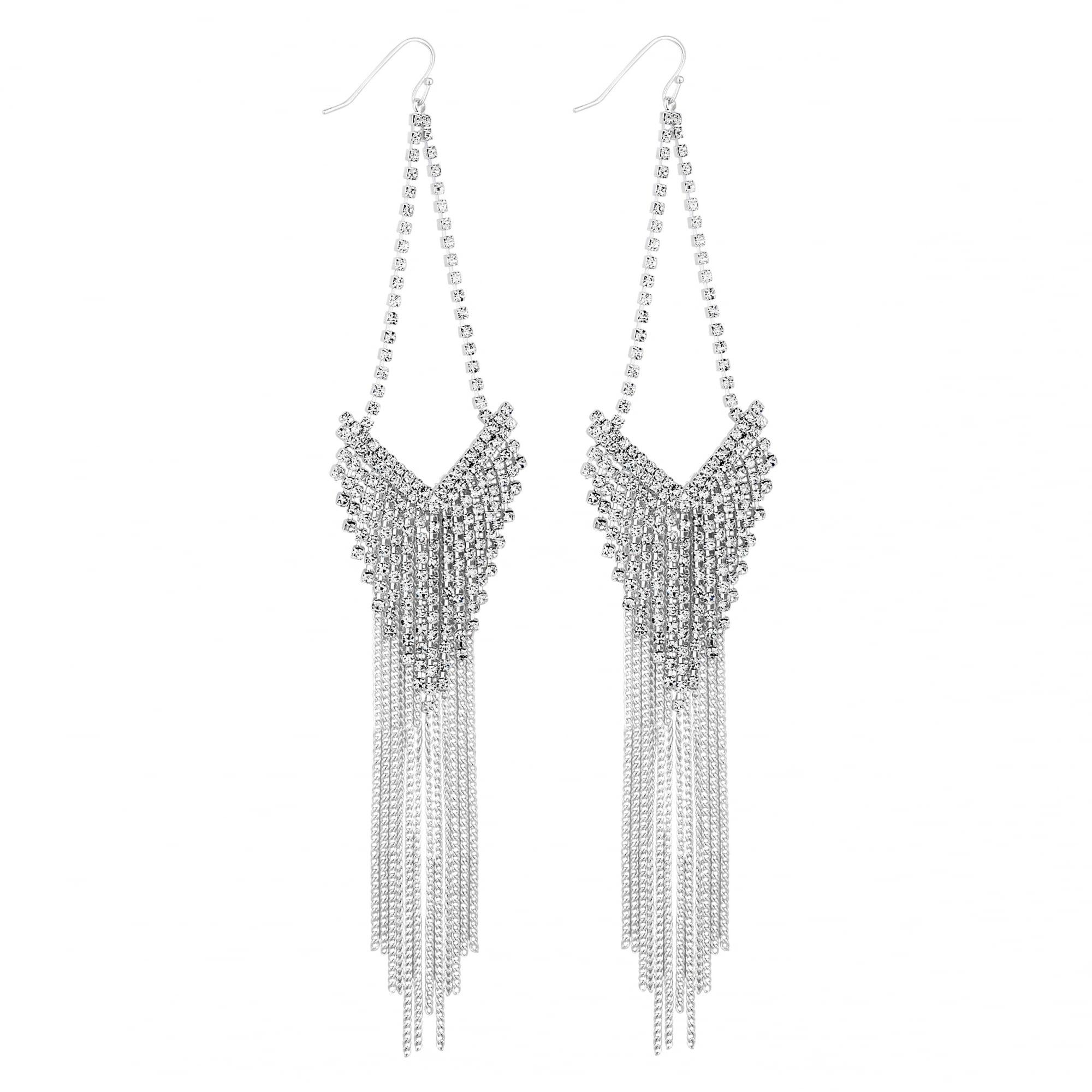 Silver Crystal Chain Chandelier Earring