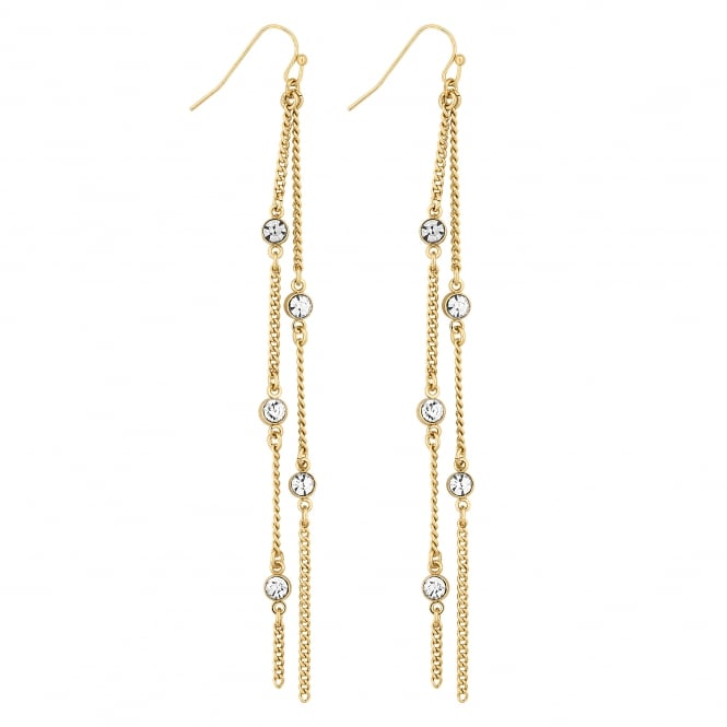 Lipsy Gold Crystal Chain Drop Earring