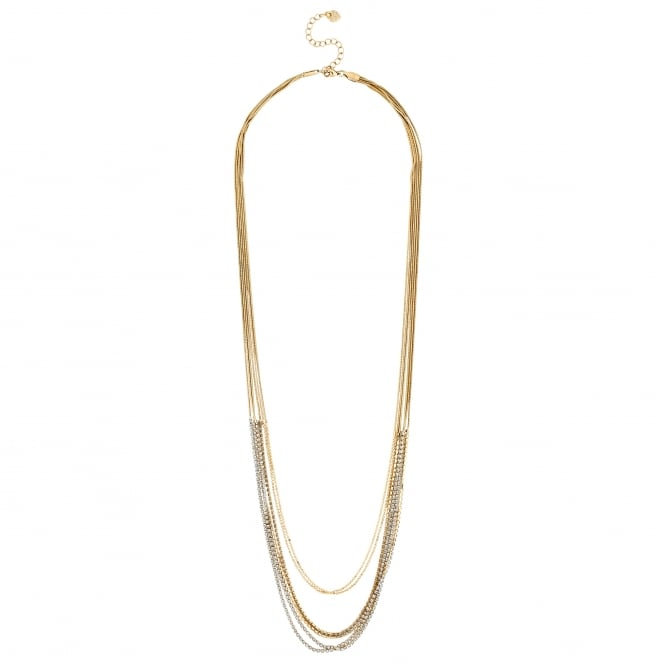 Gold Crystal chain Multi-Row Long Necklace