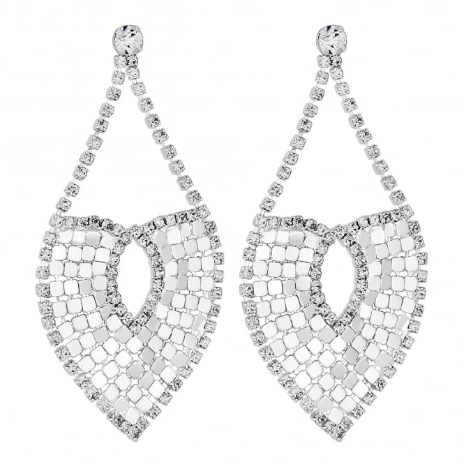 Lipsy Silver Crystal Chainmail Statement Earring
