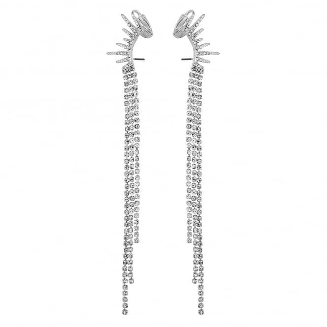 Silver Crystal Diamante Ear Cuff Earring