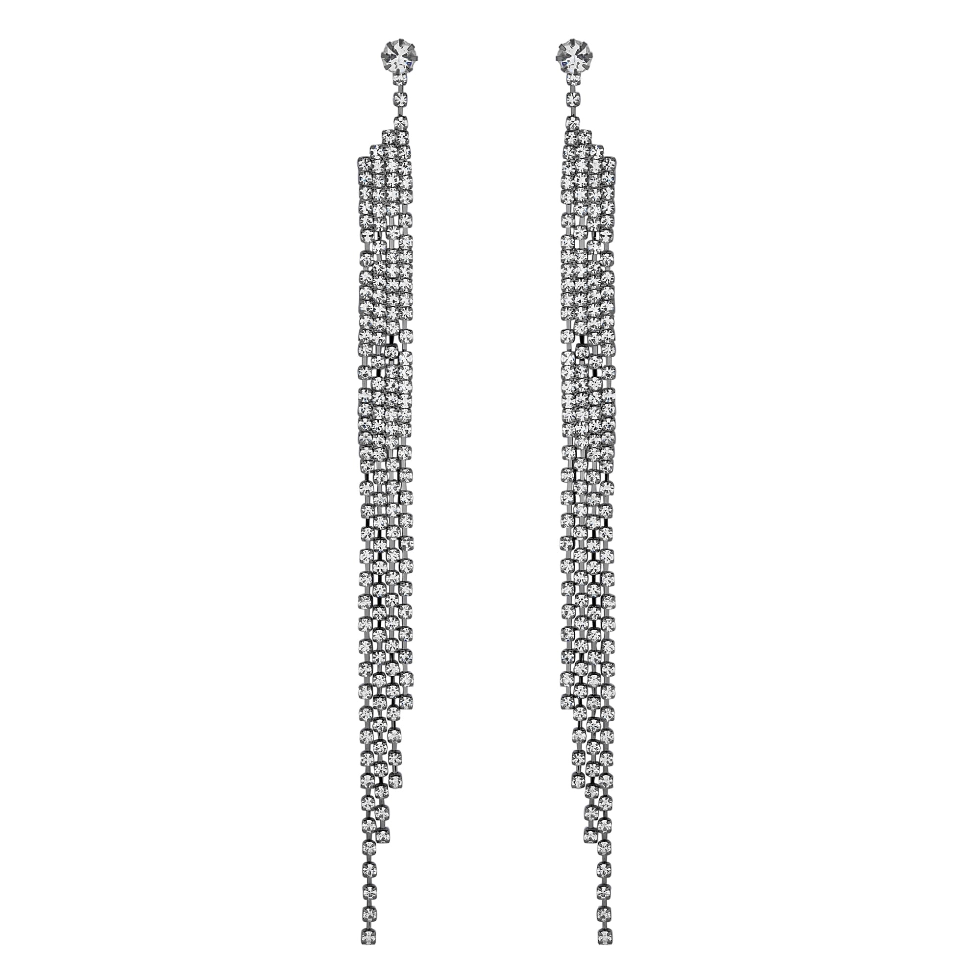 Lipsy Silver Crystal Diamante Shower Drop Earring
