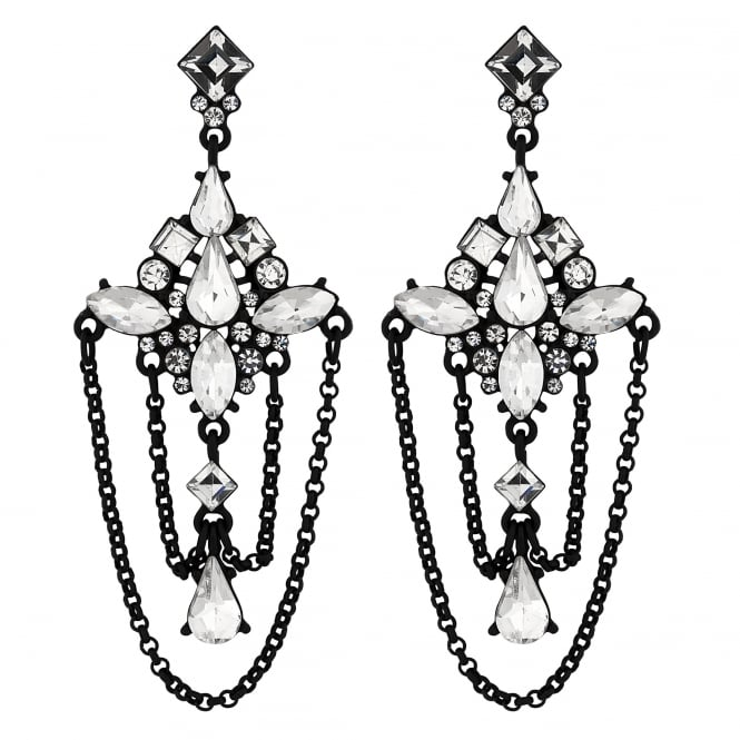 Black Crystal Draped Chandelier Earring