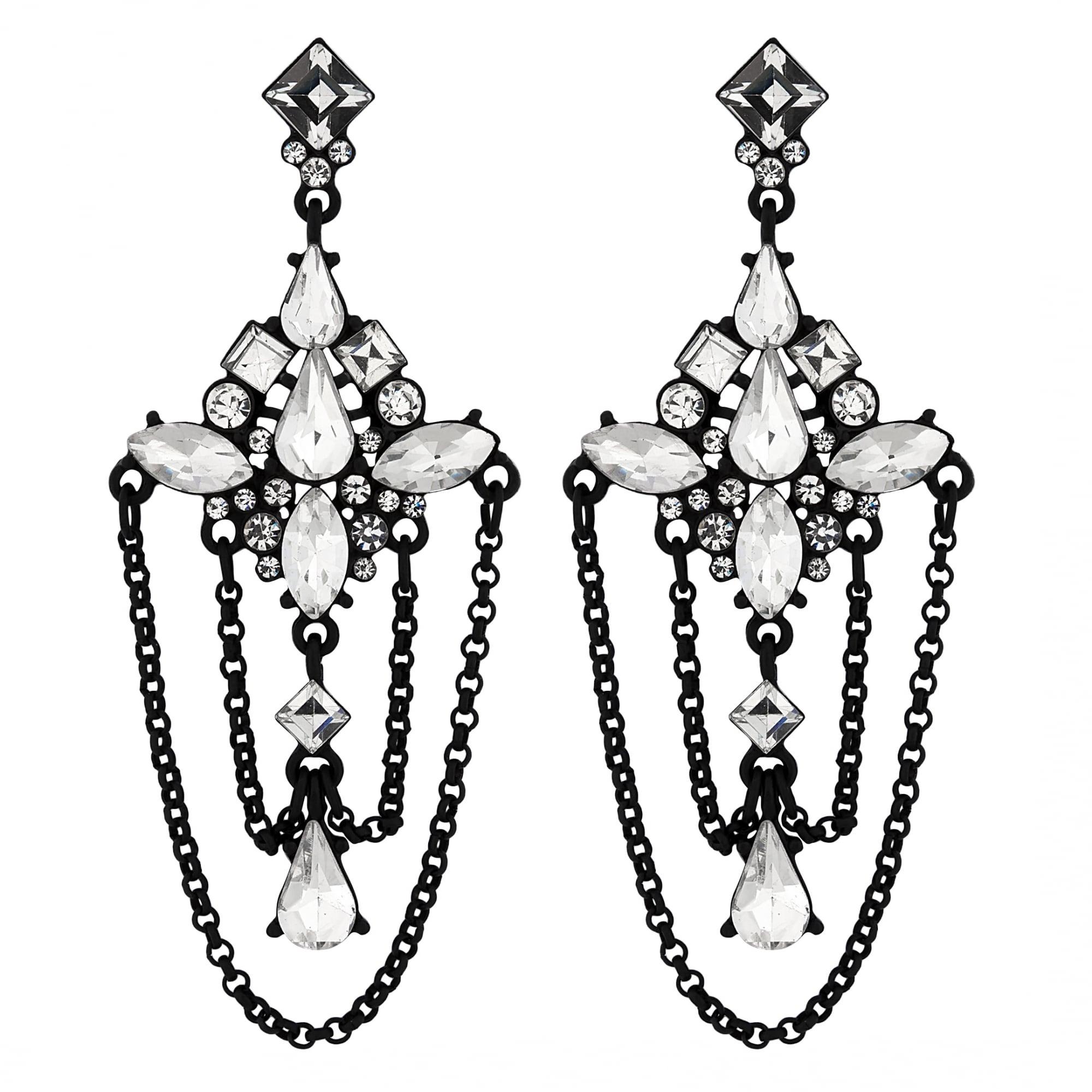 Black Crystal Dd Chandelier Earring