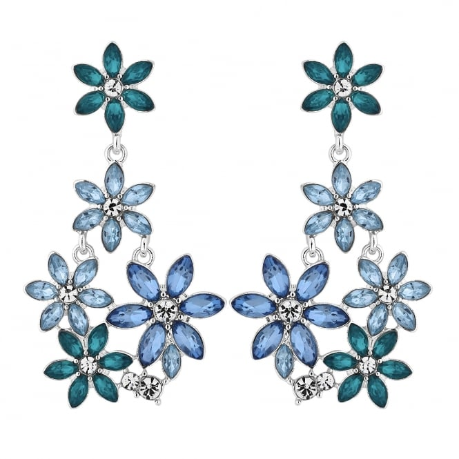 Lipsy Silver Blue And Green Crystal Flower Drop Earring