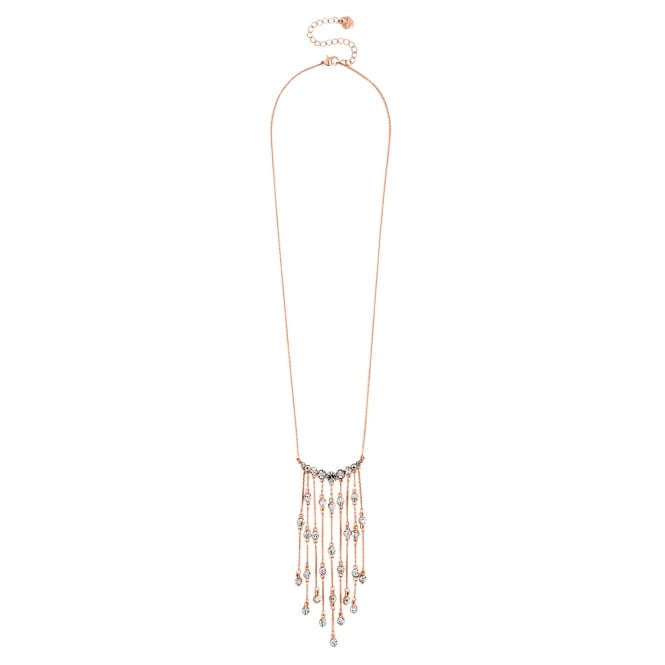 Rose Gold Crystal Fringe Long Necklace