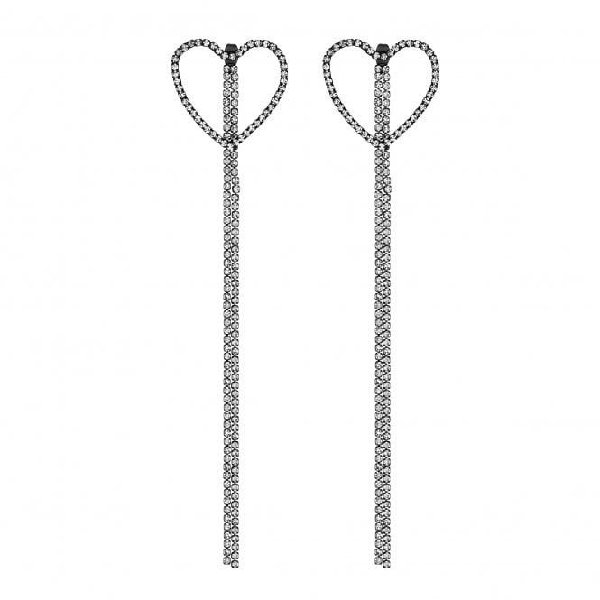 Crystal Heart Tassel Drop Earrings