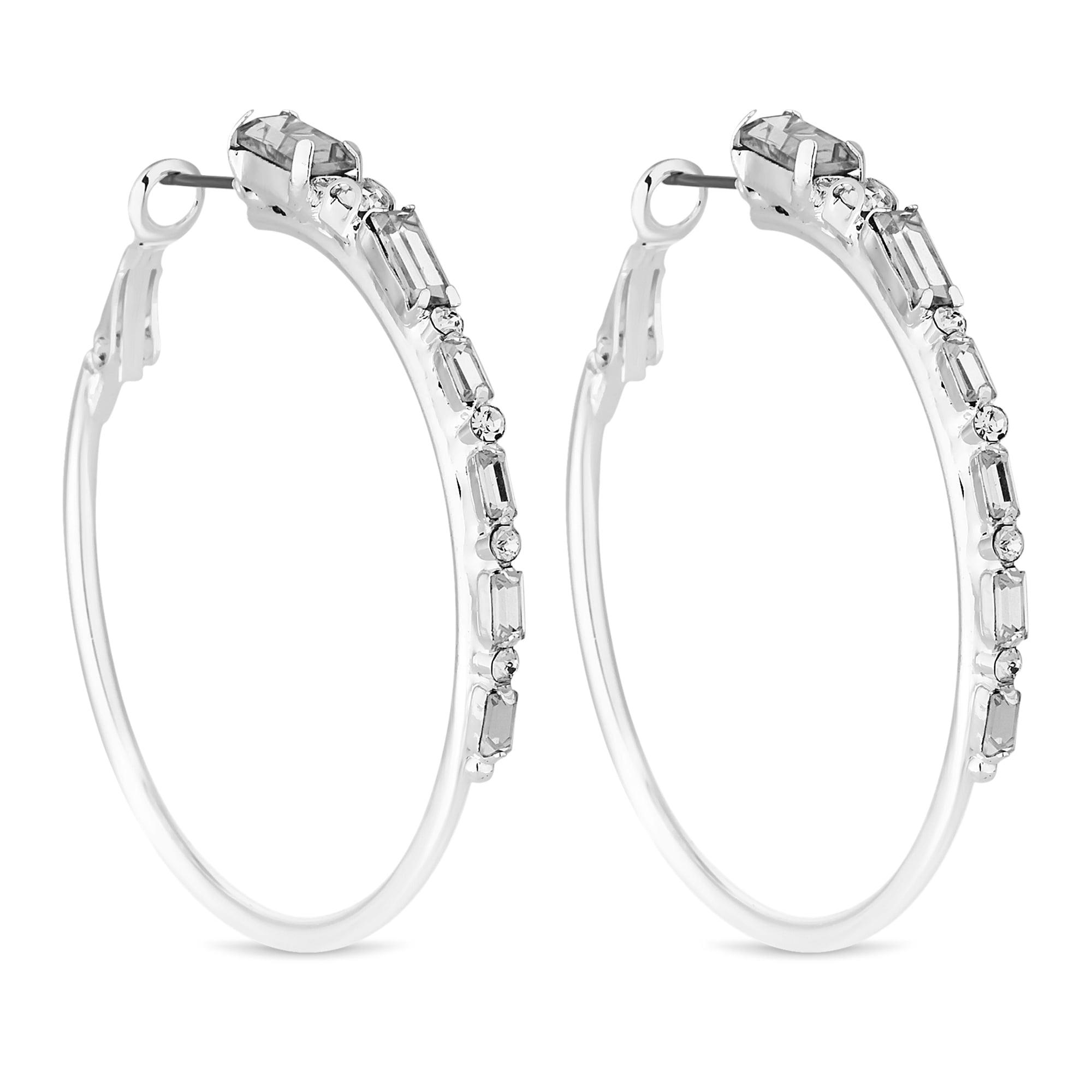 Silver Crystal Hoop Earring