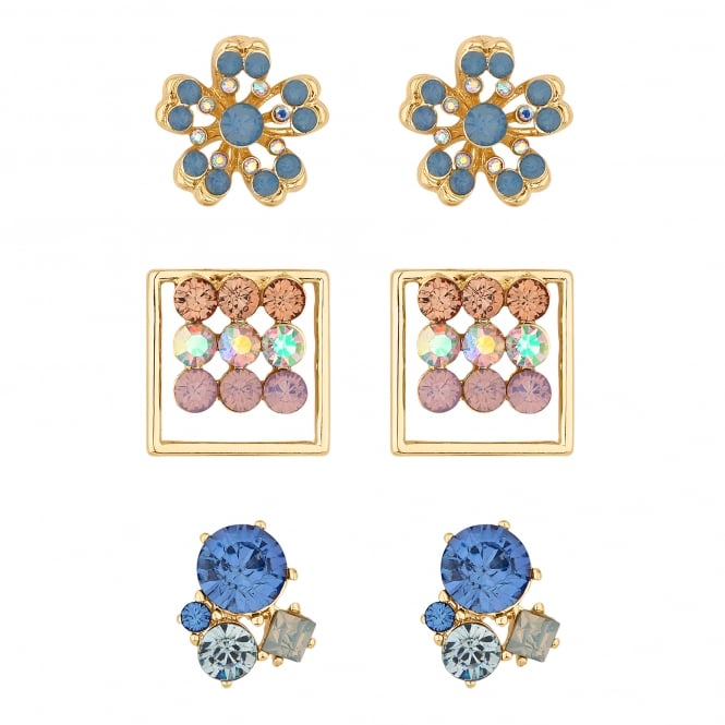 Lipsy Gold Pink/ Blue Crystal Multi Shape Earring - Pack of 3