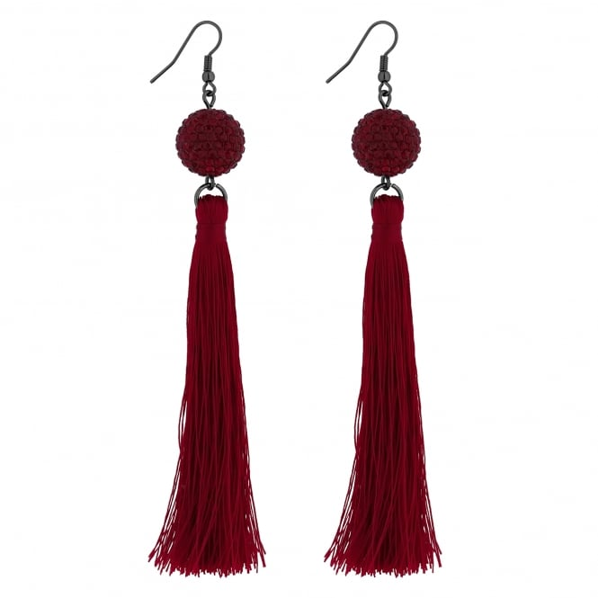 Red Crystal Ball Tassel Earring