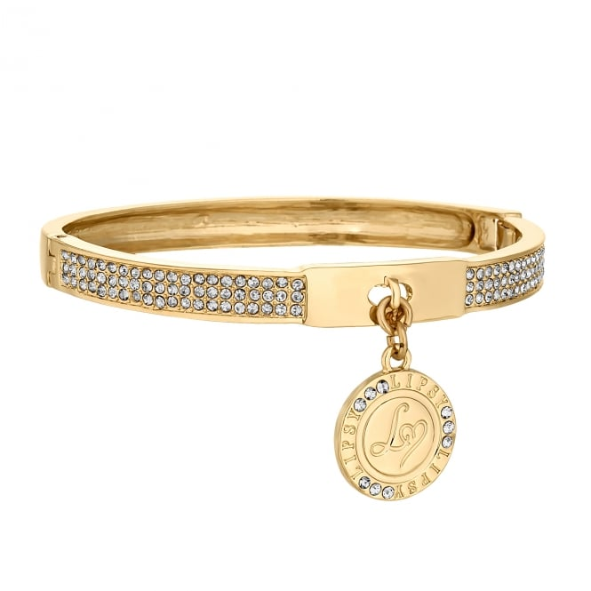Lipsy Gold Crystal Pave Charm Bangle