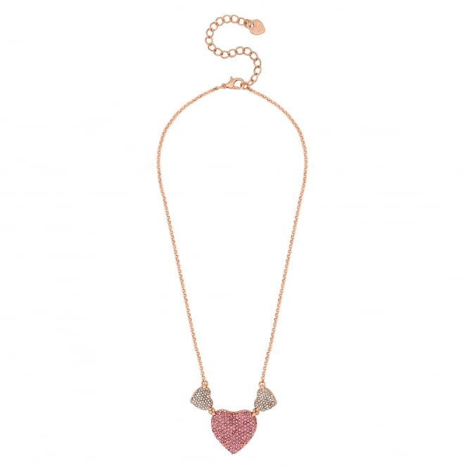 Gold Pink Crystal Pave Heart Necklace