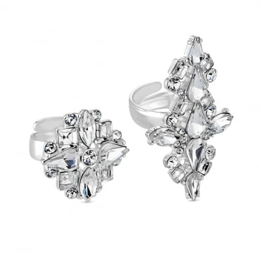 Silver Crystal Ring Set - Pack of 2