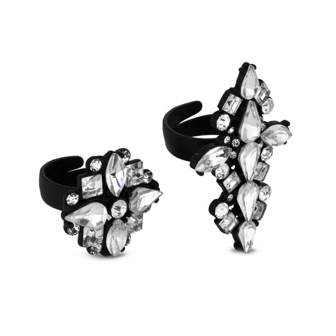 Black Crystal Ring Set - Pack of 2