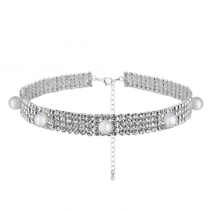Silver Diamante And Pearl Choker Necklace