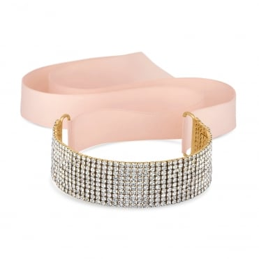 Gold Diamante Pink Ribbon Choker Necklace