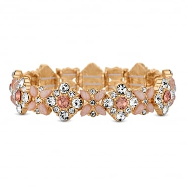 Gold Pink Floral Crystal Stretch Bracelet