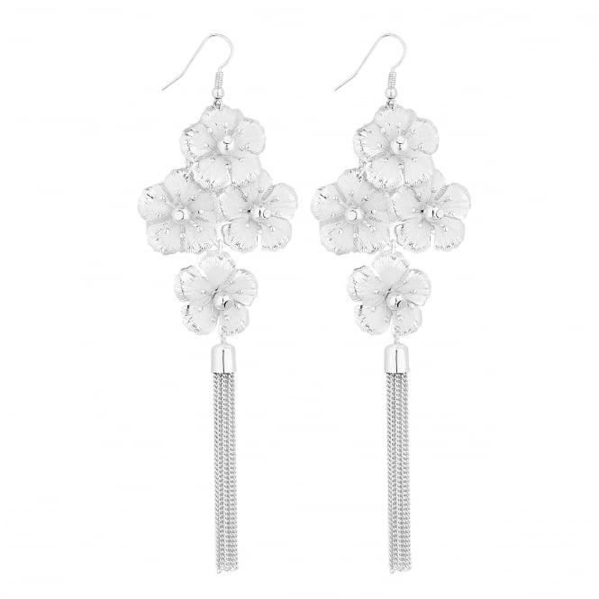 Silver Floral Crystal Chandelier Tassel Earring