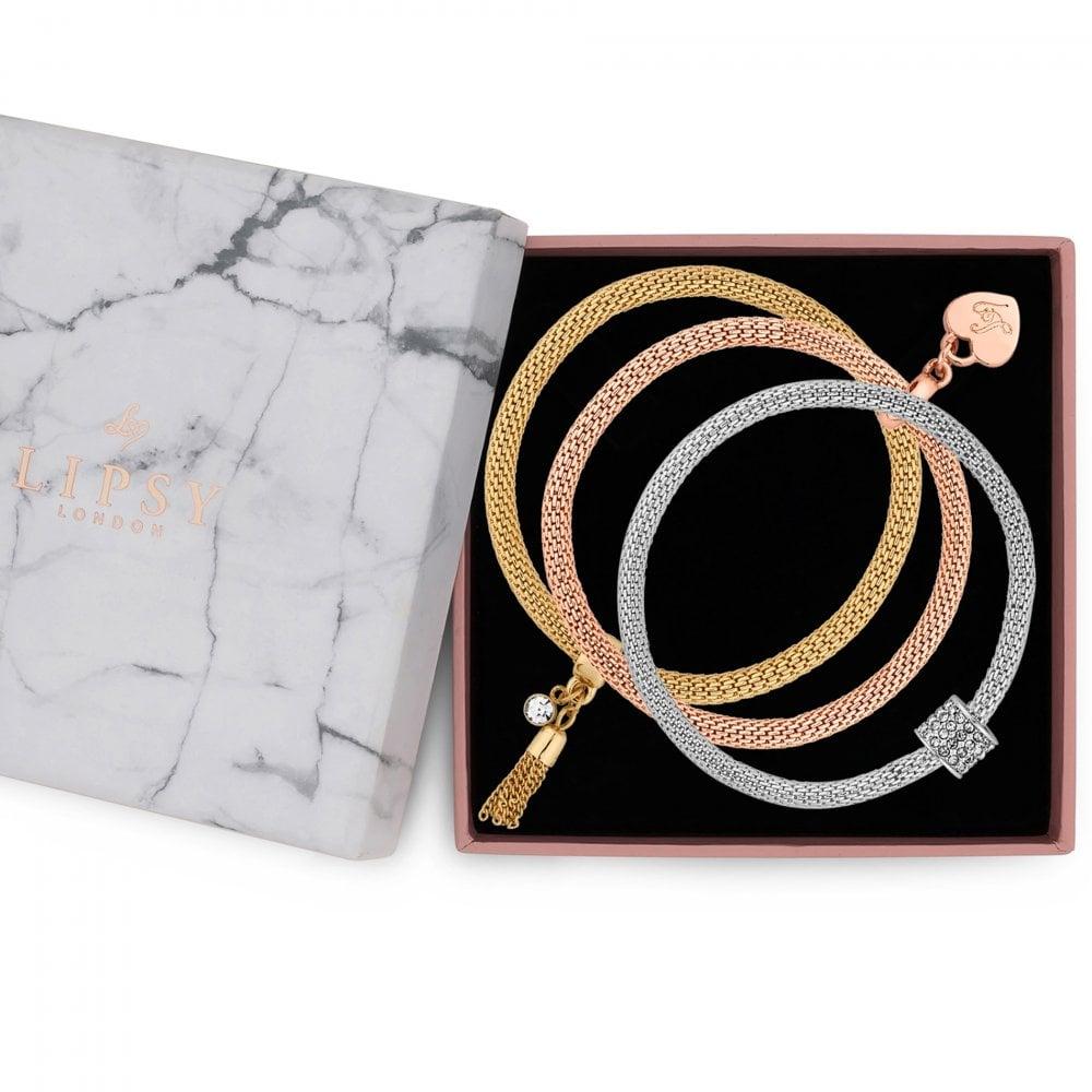 3b00a6e99a147 Gold And Silver Crystal Charm Bracelet Set