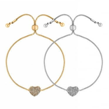 Gold And Silver Crystal Heart Toggle Bracelet Set