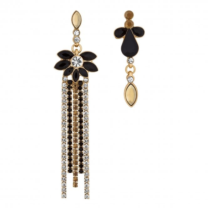 Gold Baroque Crystal Mismatched Earring Set