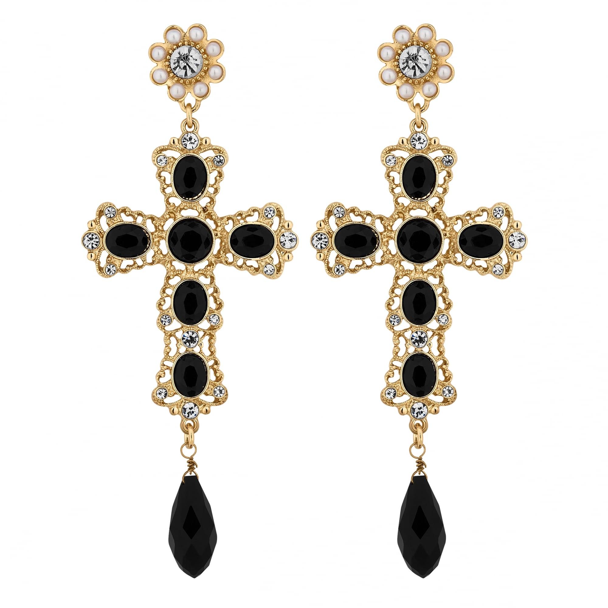 d8e8d10d74 Lipsy Gold Black Statement Cross Drop Earring - Jewellery from Jon ...