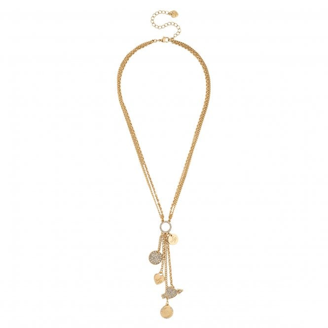 Gold Charm Disc Lariat Necklace