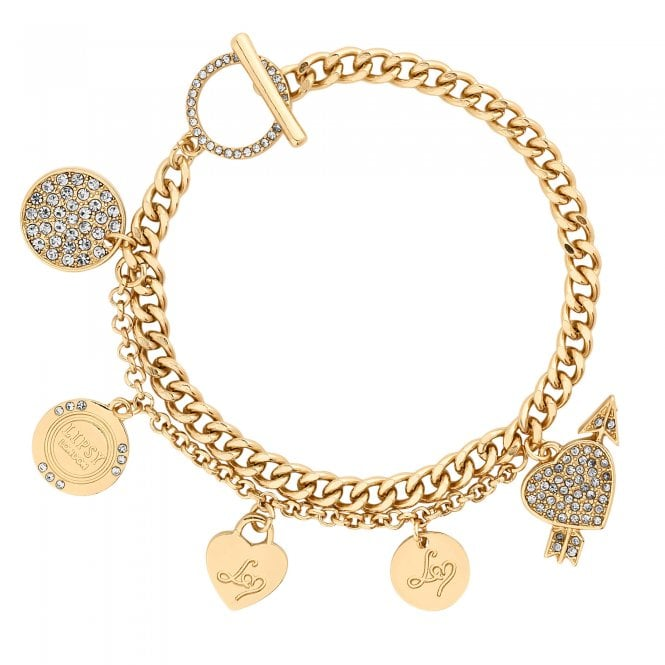Gold Crystal Disc Charm Bracelet