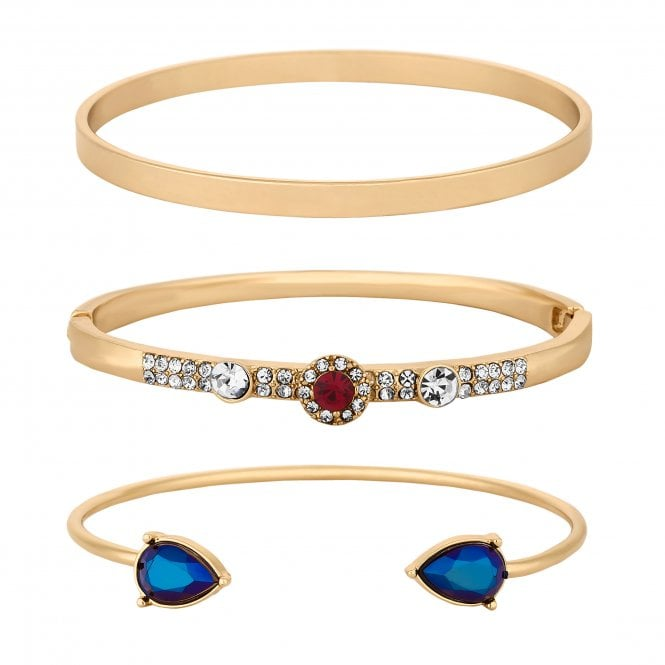 Gold Crystal Embellished Bangle Set