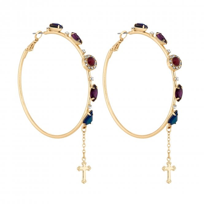 Gold Crystal Embellished Hoop Earring