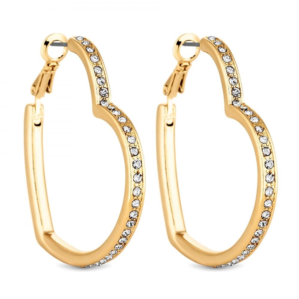 Lipsy Gold Crystal Heart Hoop Earring