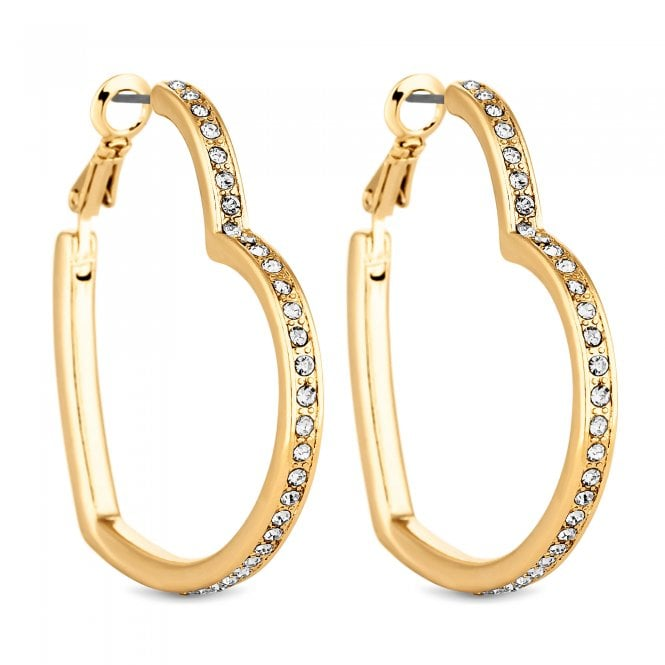 Gold Crystal Heart Hoop Earring