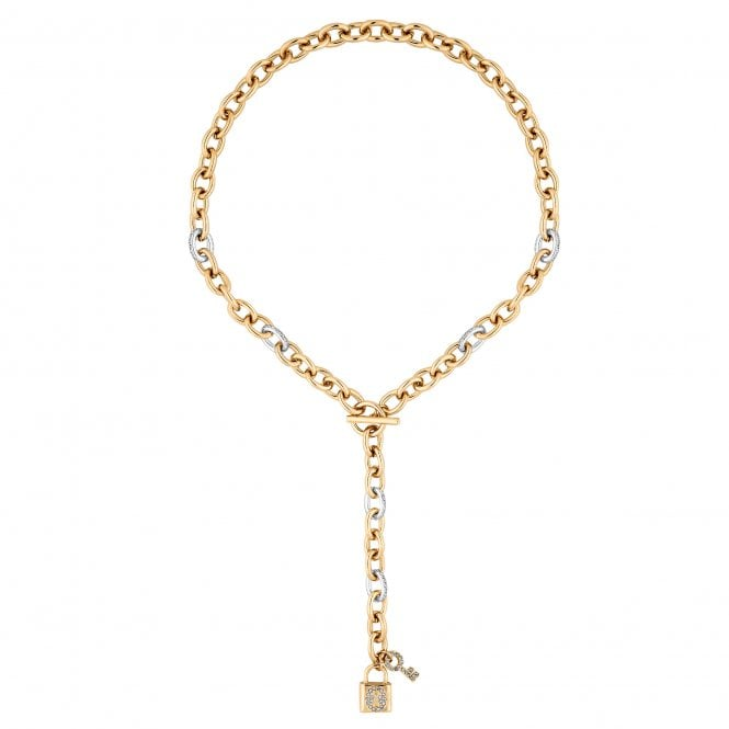 Gold Crystal Padlock Chunky Chain Lariat Necklace