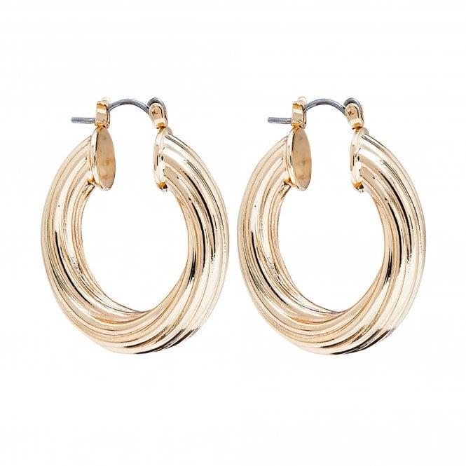 Jewellery Women's Lipsy Gold Diamond Cut Thick Hoop Earrings