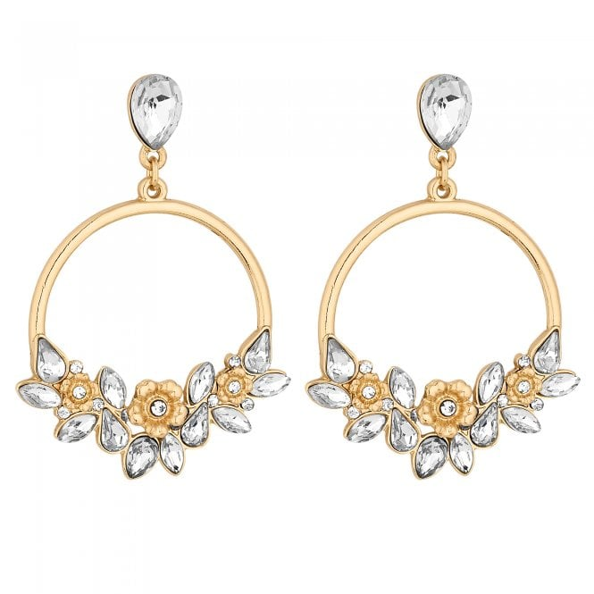 Gold Floral Hoop Drop Earring