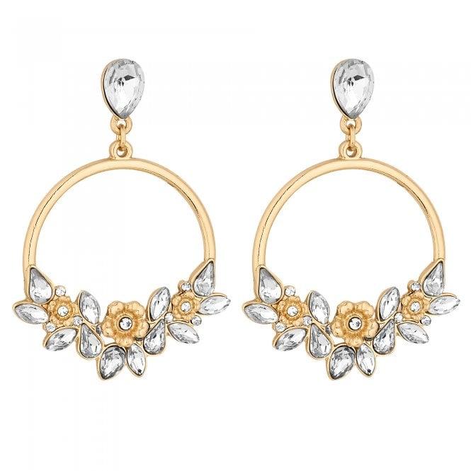 Gold Floral Hoop Drop Earring