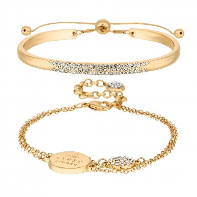 Gold Pave Charm Bracelet Set