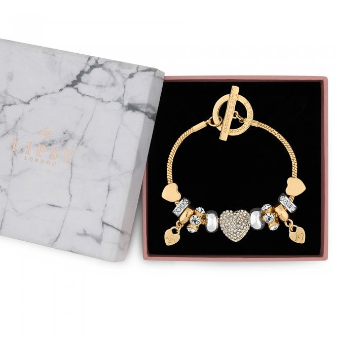 Gold Pave Crystal Heart Charm Bracelet