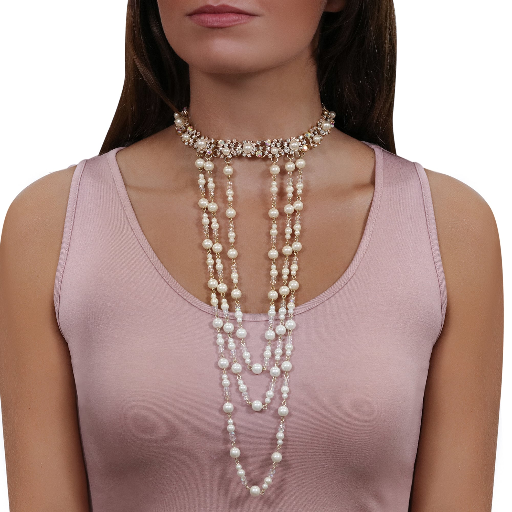 233be146b71 Lipsy Gold Pearl Statement Layered Choker Necklace - Jewellery from ...